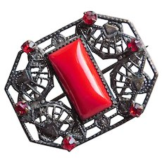 Gorgeous Old Red Glass & Rhinestone Small Brooch