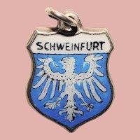 Sterling & Enamel SCHWEINFURT Charm - Souvenir of Germany - Travel Shield