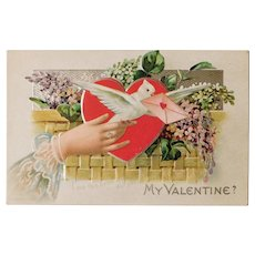 Valentine MESSENGER BIRD Antique Postcard - I ask this Boon