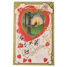 Valentine LOVERS Under the Tree Antique Postcard