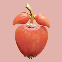 Awesome APPLE Coral Colored Vintage Brooch