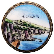 Gorgeous SORRENTO Enamel Scene Brooch - Souvenir of Italy
