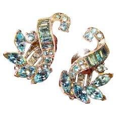 Gorgeous PELL Signed Rhinestone Vintage Clip Earrings
