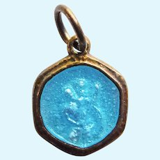 """Tiny Doll Sized ST CHRISTOPHER Vermeil Sterling Enamel Medal Pendant or Charm - 1/2"""" by 5/16"""""""