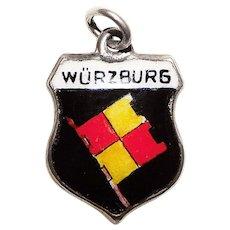 Sterling & Enamel WÜRZBURG Charm - Souvenir of Germany - Travel Shield