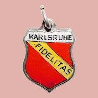Sterling & Enamel KARLSRUHE Fidelitas Charm - Football Club - Souvenir of Germany - Travel Shield