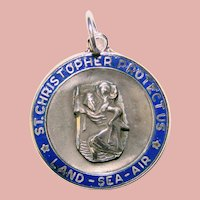 Awesome Sterling Cobalt Blue Enamel St Christopher Medal Pendant