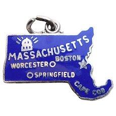 Sterling & Enamel MASSACHUSETTS Charm - State Souvenir - Wells