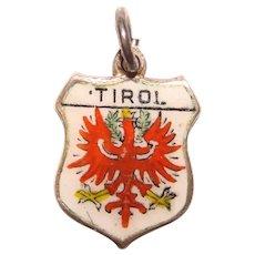 835 Silver & Enamel TIROL Charm - Souvenir of Austria - Travel Shield