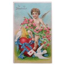 Antique CUPID Sending a Love Letter Postcard - Valentine