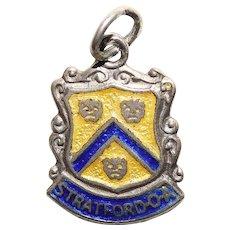 800 Silver & Enamel STRATFORD ON AVON Charm - Souvenir of England Great Britain - Travel Shield