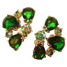 Fabulous Vintage Green Glass & Rhinestone Clip Earrings