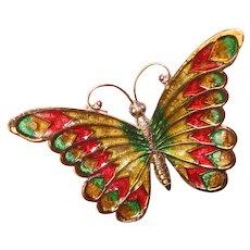 Gorgeous BEAU STERLING Enamel Butterfly Vintage Brooch