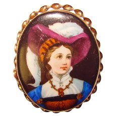Fabulous Victorian Porcelain Lady Antique Estate Pin Brooch