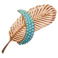 Fabulous TRIFARI Vintage Enamel & Turquoise Colored Stones Feather Design Brooch
