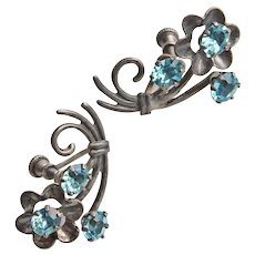 Gorgeous 1940's STERLING & Aqua Crystal Stones Earrings - Screw Backs
