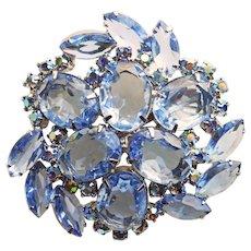 Fabulous Huge Blue Rhinestone Brooch - Open Backed Stones