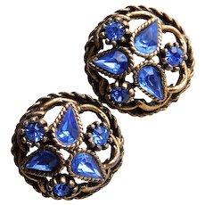 Gorgeous BLUE RHINESTONE Vintage Earrings - Screw Backs