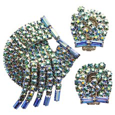 Fabulous PEACOCK GREEN & BLUE Aurora Rhinestone Brooch & Earrings Set
