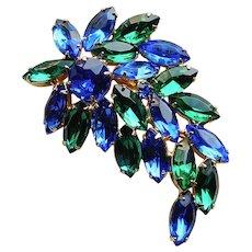 Fabulous Blue & Green Rhinestone Vintage Brooch