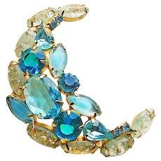 Fabulous AQUA MOON Shaped Vintage Rhinestone & Crackle Glass Brooch