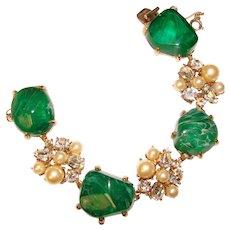 Fabulous FLAWED EMERALD Glass Chunky Stones Vintage Bracelet
