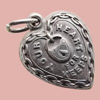Fabulous 1940s Sterling Puffy Heart For Keeps Charm - Engraved Daddy