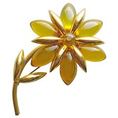 Fabulous PRYSTAL BAKELITE Figural Flower Brooch - Green Apple Juice