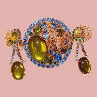 Fabulous GREEN & BLUE Vintage Rhinestone Brooch Set