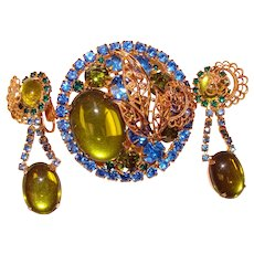Fabulous GREEN & BLUE Vintage Rhinestone Brooch Set