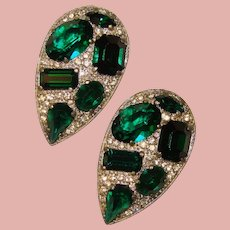Fabulous ART DECO Green & Clear Rhinestone Dress Clips - Matching Pair
