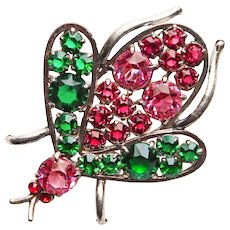 Fabulous 1940's WINGED INSECT Glass Stones Vintage Brooch - Figural Bug Beetle