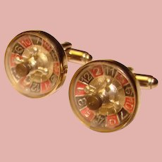 Awesome ROULETTE WHEEL Spinning Vintage Cufflinks