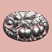 Fabulous Sterling BLEEDING HEART Vintage Brooch - Handwrought