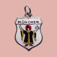 Sterling & Enamel MUNICH Munchen Charm - Souvenir of Germany - Travel Shield