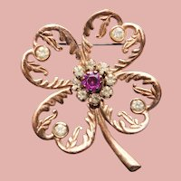Gorgeous FOUR LEAF CLOVER Vintage Brooch - St Patrick's Day