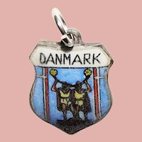 800 Silver & Enamel DENMARK Charm - Danmark Souvenir Travel Shield