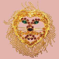 Fabulous LION Rhinestone & Ball Chain Mane Vintage Brooch – Dominique