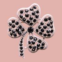 Lucky LISNER 4 Leaf CLOVER Black Rhinestone Enameled Brooch - Shamrock - St Patrick's Day