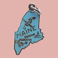 Sterling & Enamel MAINE Vintage Charm - State Souvenir