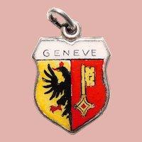 800 Silver & Enamel GENEVA Geneve Charm - Souvenir of Switzerland - Travel Shield