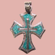 Gorgeous Mexican Sterling Mosaic Stone Inlay Vintage Cross Pendant