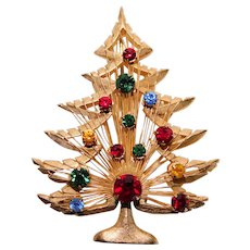 Gorgeous CHRISTMAS TREE Vintage Brooch - Signed Brooks