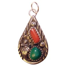 Gorgeous ANGELA LEE Sterling Coral Turquoise Pendant – Navajo