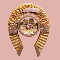 Fabulous Victorian Antique HORSESHOE BROOCH with Pink Stone - Figural Horse Shoe