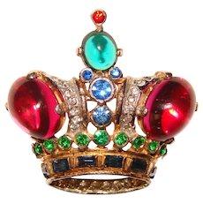Fabulous TRIFARI Sterling Jeweled Crown Design Vintage Brooch