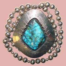 Fabulous STERLING & TURQUOISE Huge Vintage Pendant Necklace - 103 Grams