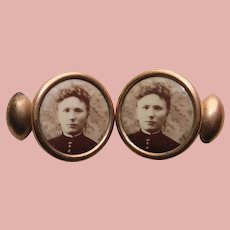 Antique LOVELY LADY Photo Portrait Picture Cufflinks