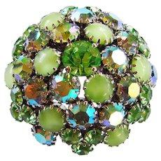 Fabulous WARNER Signed Green Glass Rhinestone Vintage Brooch