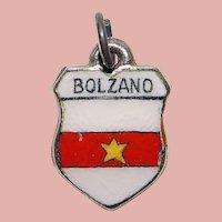 800 Silver & Enamel BOZANO Charm - Souvenir of Italy - Travel Shield